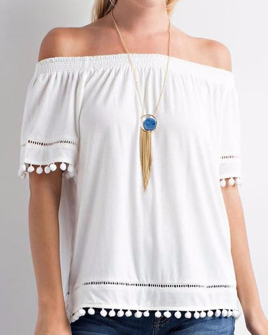 Ivory PomPom Detail Off the Shoulder Top