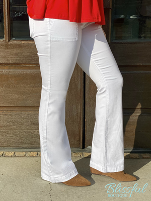 White Flared Denim Jegging