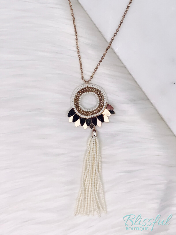 White & Gold Beaded Tassel Necklace