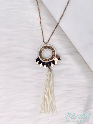 Cream Long Beaded w/ Tassel Pendant