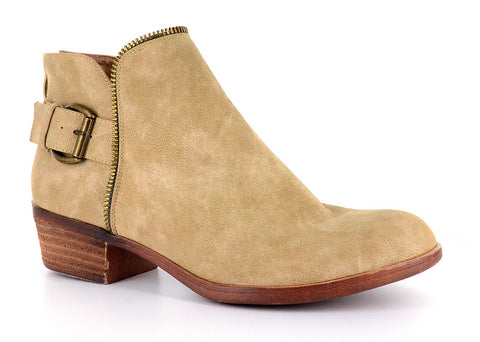 Tan Zipper Bootie