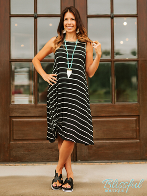 Black Stripe Sleeveless Dress