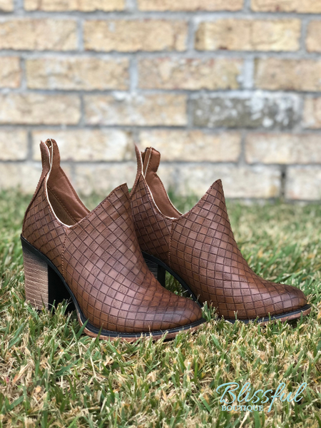 Brown Basketweave Bootie