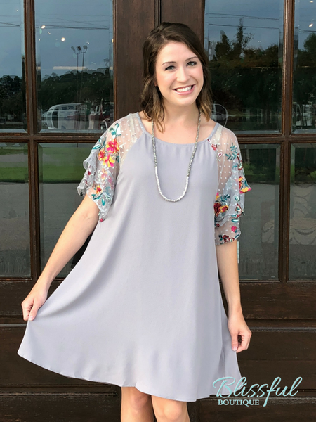 Cool Grey Floral Embroidered Crepe Dress