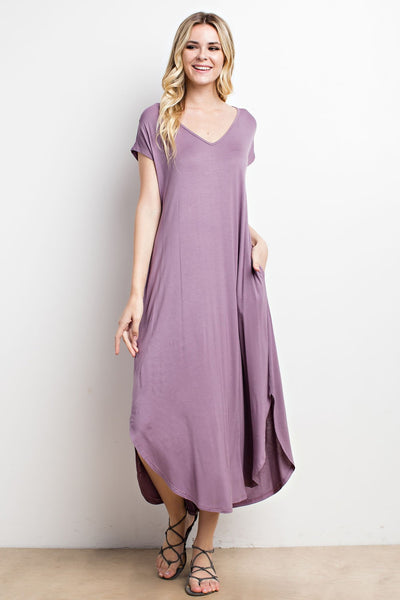 Dusty Lavender Long Round Hem Dress