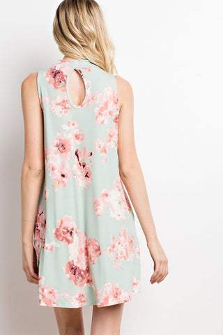 Seafoam Floral Mock Sleeveless Dress