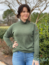 Olive High Neck Sweater Top w/ Button Detail