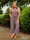 Eggplant Stripe Sleeveless Capri Jumpsuit