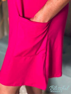 Fuchsia 2 Pocket Tee Dress