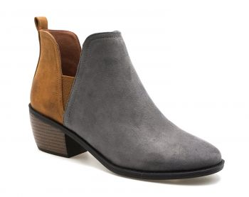 Grey & Brown 2-Tone Bootie