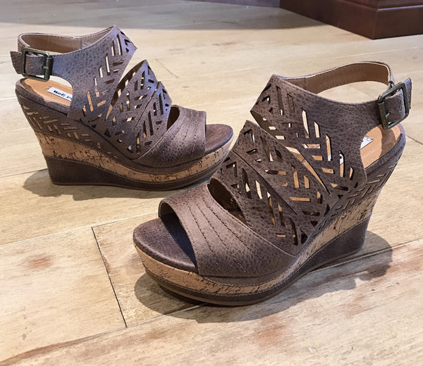Taupe Wedge Sandals