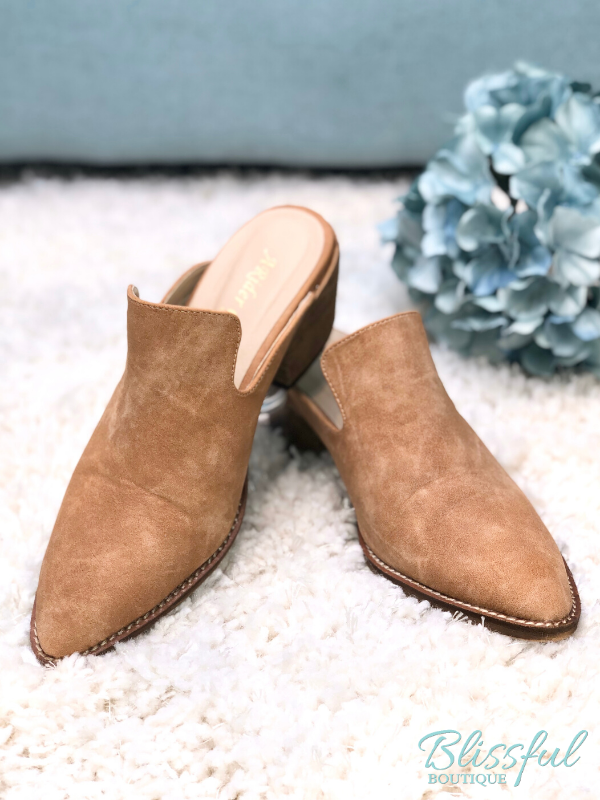 Taupe Pointed Block Heel Mules