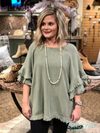 Sage Layered Ruffle Sleeve Top w/ Frayed Hem