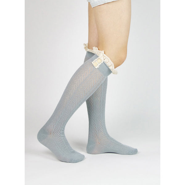 Boot Sock w/ Cream Lace Top