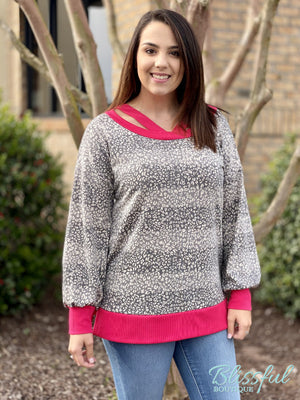 Grey Leopard/Stripe Tunic w/ Pink Trim