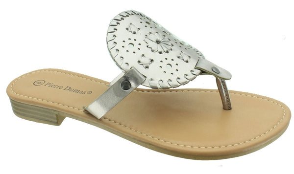 Pewter Round Jack Rogers Inspired Sandals