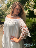 Ivory Cutout Sleeve Off-the-Shoulder Dress