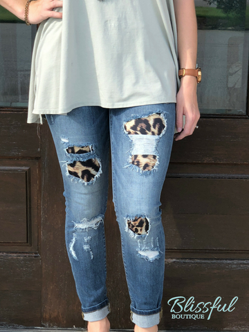 Distressed Leopard Patch Skinny Denim