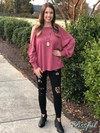 Dusty Rose Long Puff Sleeve Open Shoulder Top