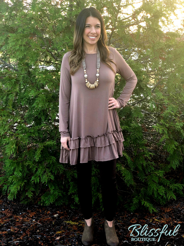 Mocha Ruffle Hem Dress