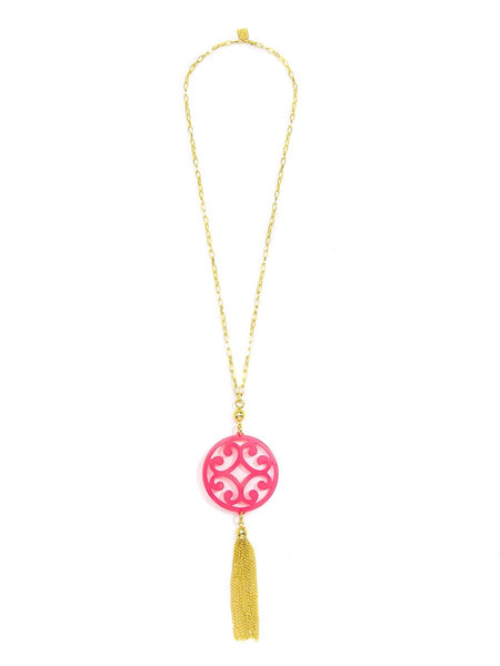 Circle Scroll Pendant with Tassel Necklace - Blissful Boutique