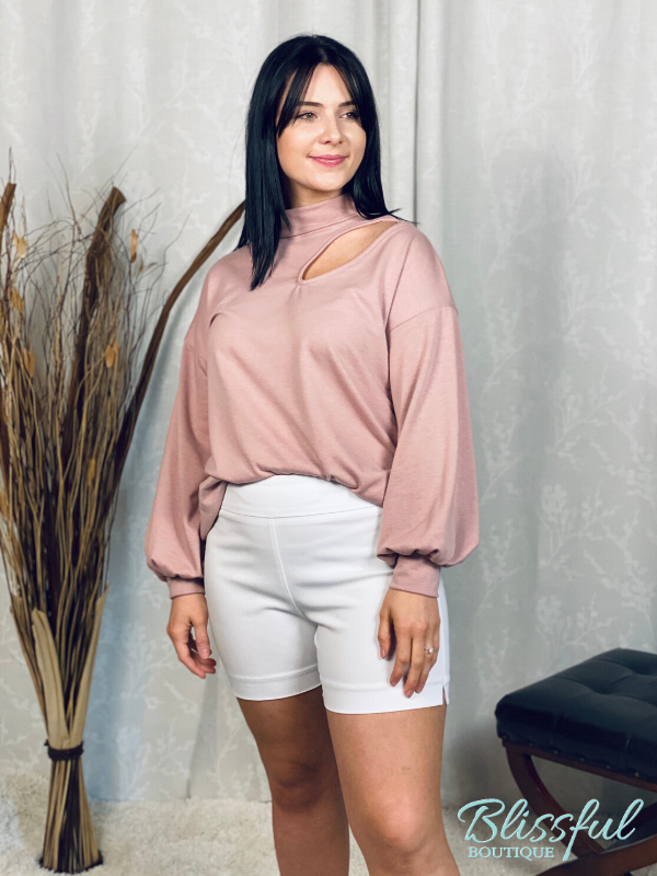 Dusty Pink Mock Neck Cutout Top