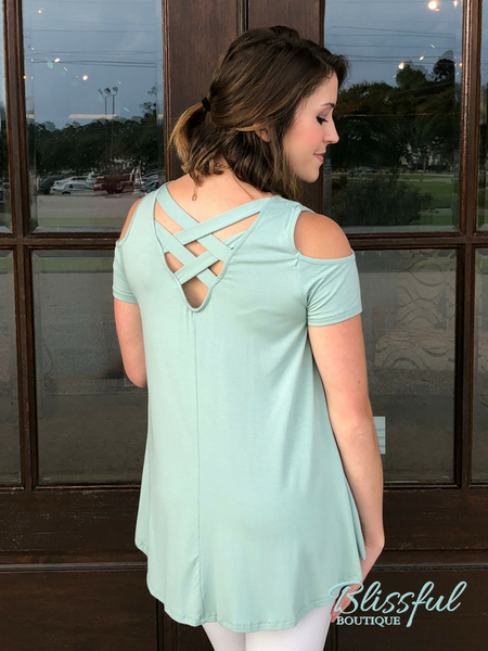 Sage Cold Shoulder Tunic