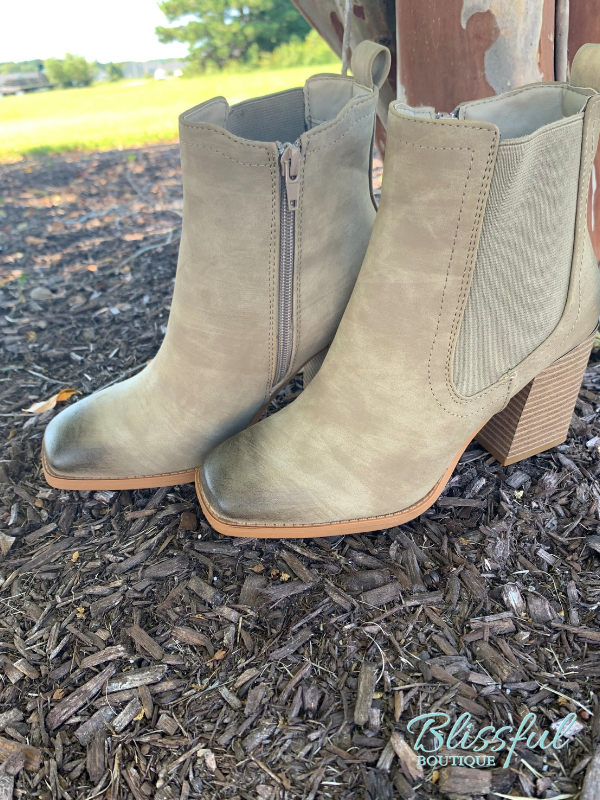 Sand Distressed Toe Ankle Boot