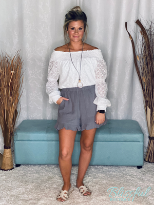 Silver Linen Style Ruffle Detail Shorts