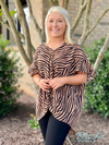 Latte Zebra Print Twisted Front Tunic Top