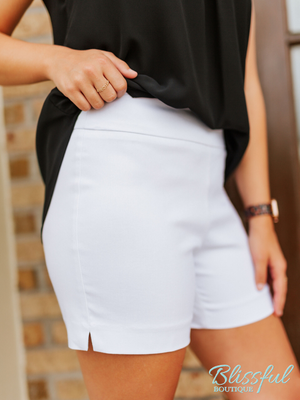 White Pull-On Shorts