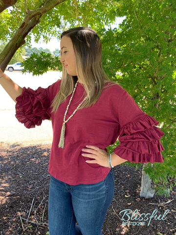 Wine Layered Ruffle Sleeve Top