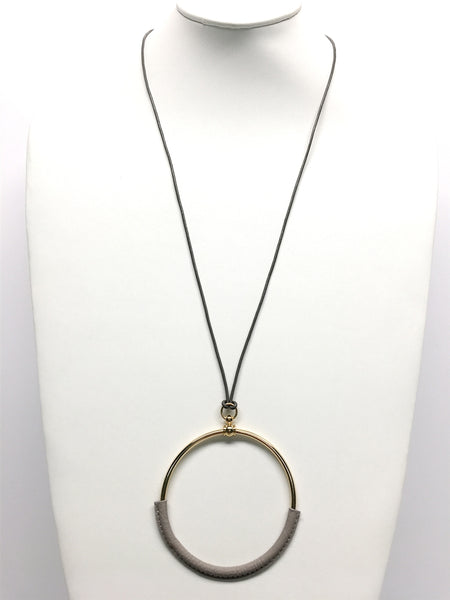 Large Circle & Grey Leather Necklace - Blissful Boutique