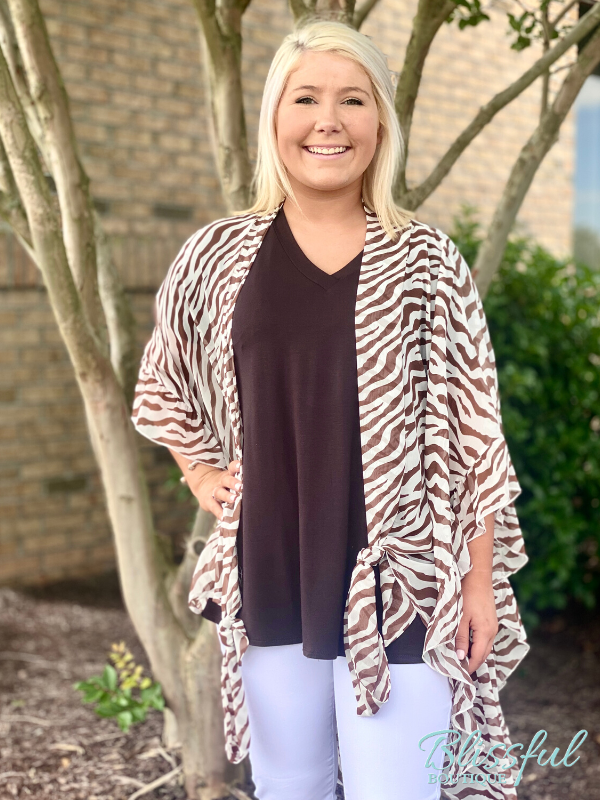 Brown V-Neck Short Sleeve Top w/ Kimono
