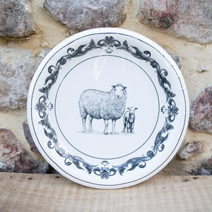Black & White Farm Animal Plate Collection