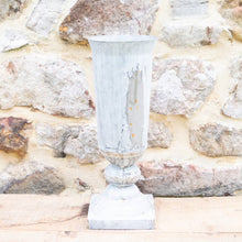 Load image into Gallery viewer, Tall Metal Urn with Distressed Zinc Finish