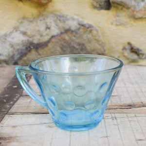 Vintage Blue Bubble Dot Glass Cups