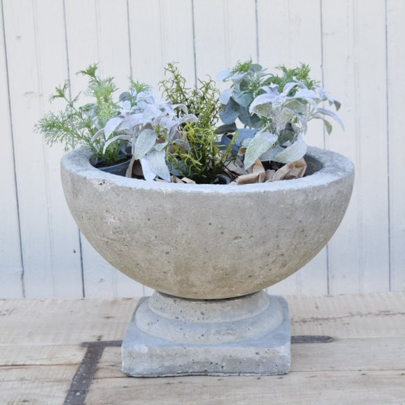 Hand Cast Cement Bowl with Separate Base