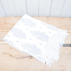 Cream & Blue Throw