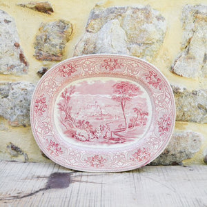 Red Transferware Platter