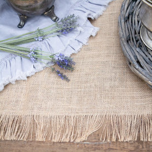 Burlap Table Runner with Fringed Edge