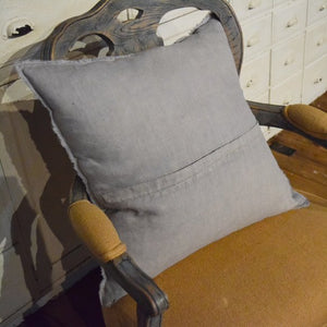 Grey Fringed Pillow