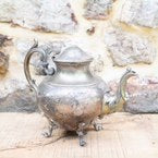 Vintage Silver on Copper Tea Kettle