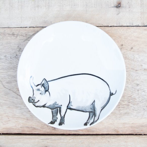 Stoneware Farm Animal Plates