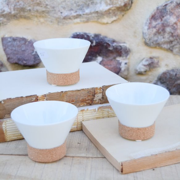 White Porcelain Dipping Bowl with Cork Band
