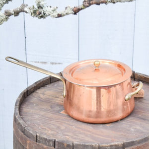 Vintage Copper Saucepan with Lid & Brass Handles