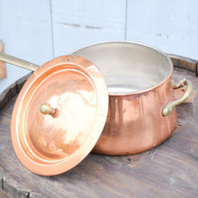 Load image into Gallery viewer, Vintage Copper Saucepan with Lid & Brass Handles