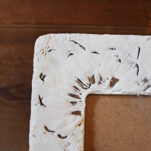 White Frame with Embossed Wildflowers