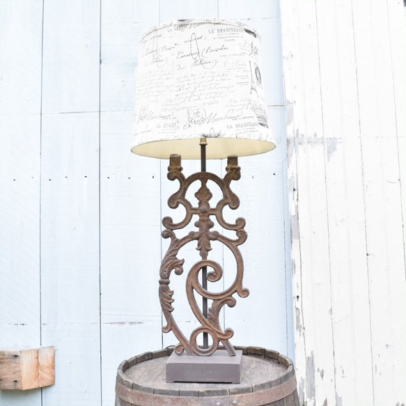 Iron Table Lamp Made from French Balustrade (with shade)