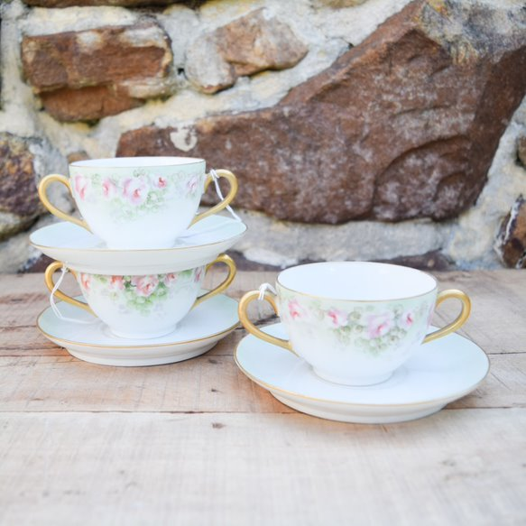 Limoges Porcelain Boullion Cups